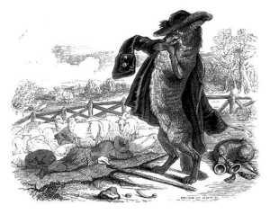 fable de la fontaine - illustration grandville - le loup devenu berger